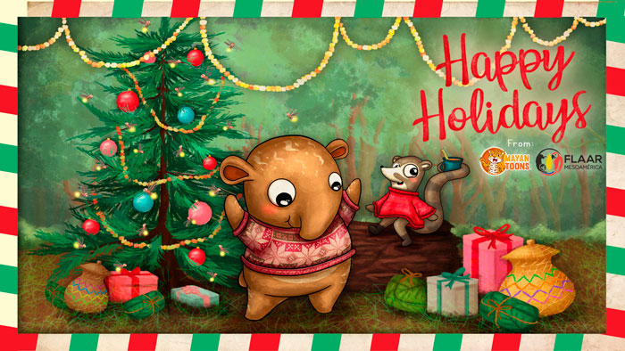 Christmas-Happy-Holidays-2019-MayanToons-Tappi-Tapir-Cuttie-Coatimundi